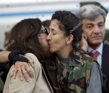 Colombian-french Former Presidencial Candidate Ingrid Betancourt (r) Kisses Her Mother Yolanda Pulecio (l) at Her Arrival to the Military Airport of Catam in Bogota Colombia on 02 July 2008 After Being Rescued by the Colombian Army in the Jungle of the Eastern Department of Guaviare After a Long Hostage by the Farc Guerrilla with Betancourt Together Three Us Citizens and Other 11 Colombian Military Troops Were Rescued Colombia Tolemaida