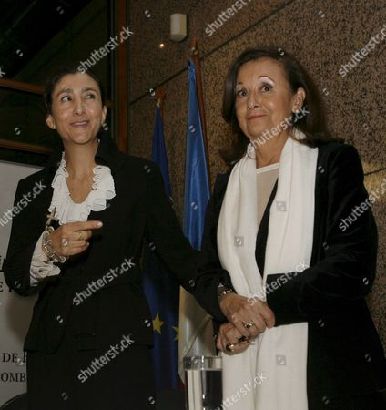 Stock Photo of Former Colombian Presidential Candidate Ingrid Betancourt (l) and Her Mother Yolanda Pulecio (r) During a Press Conference at the French Embassy in Bogota Colombia 29 November 2008 Ingrid Betancourt was Kidnapped by Farc Guerrillas Until Last July when She was Freed During a Military Rescue Operation and She is in Colombia As the First Place to Visit on Her Latinamerican Tour to Promote a Fundation to Help the Kidnapped People by Farc Guerillas in Her Country Colombia Bogota