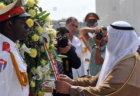 Kuwait's Prime Minister Sheikh Nasser Mohammed Al-ahmed Al-sabah (r) Leaves a Wreath in Front of National Hero Statue Jose Marti at Revolution Square in Havana Cuba 17 July 2010 Al-sabah Arrived to the Island on an Official Visit During Which He Will Hold Meetings and Sign Agreements with Cuban Authorities As Part of His Latin American Tour Cuba Havana