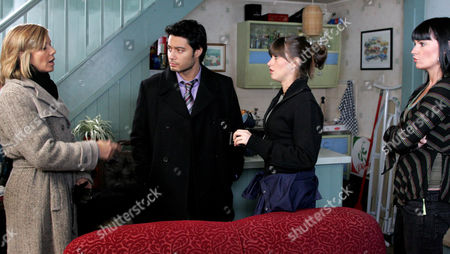 'Emmerdale' -  DCI Grace Barraclough (Glynis Barber), DS Vikesh Desari (Stephen Rahman-Hughes), Debbie Dingle (Charley Webb) and Chastity Dingle (Lucy Pargeter)