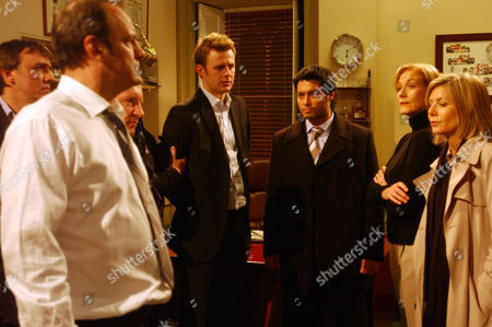 'Emmerdale' - Jimmy King (Nick Miles), Matthew King (Matt Healy), Carl King (Tom Lister), DI Vikesh Desari (Stephen Rahman-Hughes), Rosemary King (Linda Thorson) and DCI Grace Barraclough (Glynis Barber)