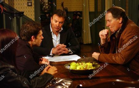 'Emmerdale'   -  Jo Stiles (Roxanne Pallett), Andy Sugden (Kelvin Fletcher), Grayson Sinclair (Christopher Villiers)  and  Jack Sugden (Clive Hornby)