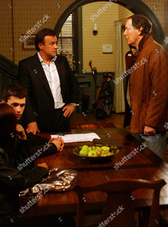 'Emmerdale'  -  Andy Sugden (Kelvin Fletcher) and Jo Stiles (Roxanne Pallett), Grayson Sinclair (Christopher Villiers) and Jack Sugden (Clive Hornby)