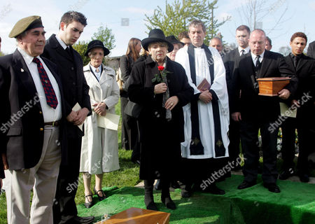 Stock Picture of 'Emmerdale'   -  Mourners including Pearl Ladderbanks (Meg Johnson), Marc Reynolds (Anthony Lewis), Lady Tara Thornfield (Anna Brecon), Ashley Thomas (John Middleton) and Danny Daggert (Cleveland Campbel) say farewell to Len Reynolds as he's laid to rest.