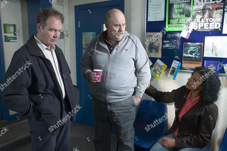'Emmerdale'   -  Terry Woods (Billy Hartman), Duke Woods (Dicken Ashworth) and Andrea (Cathy Tyson)