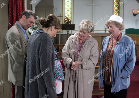'Emmerdale'   -  Ashley Thomas (John Middleton) and Emily Kirk (Kate McGregor), Pearl Ladderbanks (Meg Johnson) and Betty Eagleton (Paula Tilbrook)