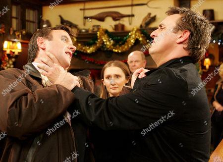 'Emmerdale'  - Grayson Sinclair (Christopher Villiers), Emily Kirk (Kate McGregor) and Matthew King (Matt Heal)