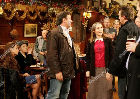 'Emmerdale' -  Grayson Sinclair (Christopher Villiers), Emily Kirk (Kate McGregor)  and Matthew King (Matt Healy)