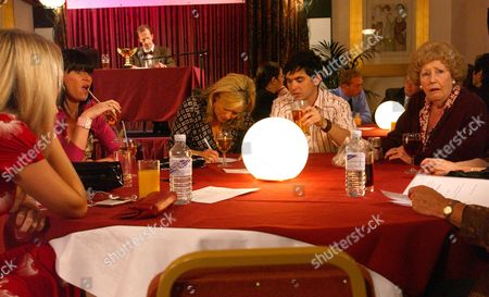 'Emmerdale'   -  Louise Appleton (Emil Symons), Betty Eagleton (Paula Tilbrook), Sandy Thomas (Freddie Jones), Alun Turner (Richard Thorp) and Val Lambert (Charlie Hardwick) aren't convinced of there chances of winning the pub quiz afetr meeting the current champions.