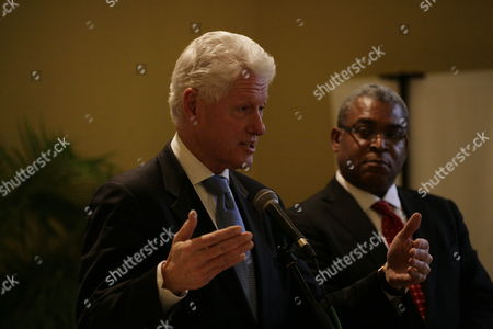 The Associate Presidents of the Interim Haiti Reconstruction Commision (ihrc) Former Us President Bill Clinton (l) and Haitian Prime Minister Jean Max Bellerive (r) Attend a Press Conference at Karibe Hotel in Port Au Prince Haiti 15 February 2011 the Ihrc Hold Meetings with Haitian Presidential Candidates Mirlande Manigat and Michel Martelly Haiti Port Au Prince