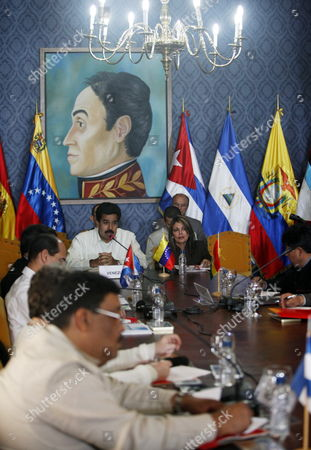 Venezuelan Chancellor Nicolas Maduro (c) Speaks As He Attends a Meeting of the Bolivarian Alliance For the Peoples of Our America (alba) in Caracas Venezuela on 04 March 2011 During the Meeting Maduro Read a Recent Letter Sent by the Libyan Minister of Foreign Affairs Mousa Kousa in Which the Libyan Government Authorized Venezuela to Held the 'Necessary' Actions to Create an International Commission to Help Fixing the Current Conflict in the Arabian Country Venezuelan President Hugo Chavez Had Also Proposed a Similar Move Venezuela Caracas