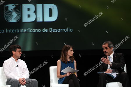 Stock Photo of From Left to Right President of Inter American Development Bank (iadb) Colombian Luis Alberto Moreno; Moderator Liana Sod and Mexican Health Secretary Jose Angel Cordova Attend the Work Sessions of the 51st Annual Assembly of the Iadb in Cancun Mexico 19 March 2010 Mexico Cancun