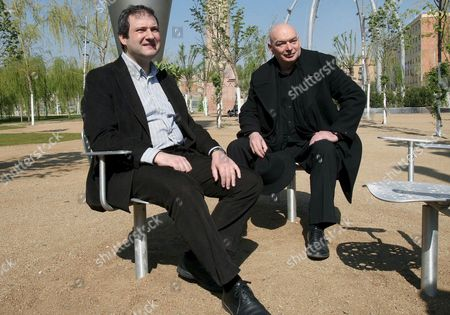 French Architect Jean Nouvel (r) Sits Next to Barcelona Mayor Jordi Hereu (l) During the Presentation of the Parc Central De Poblenou (poblenou Central Park ) in Barcelona Spain 05 April 2008 Which is His Second Project in This City After Having Built the Agbar Tower in 2005 This Event is Nouvel's First Public Appearance After Being Awarded the Pritzker Architecture Prize on 30 March 2008 Considered the Nobel Prize of Architecture Spain Barcelona