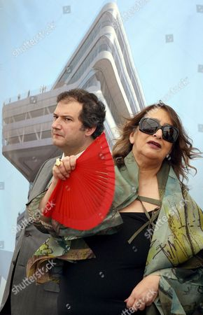 Iranian Architect Zaha Hadid (r) and Barcelona's Mayor Jordi Hereu (l) Attend the Foundation Stone Ceremony For the Spiralling Tower in Barcelona Spain 14 July 2009 the Spiralling Tower Will Be the Landmark of the Future Besos Inter-university Campus Spain Barcelona