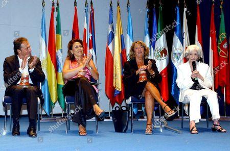 (l-r) Jose Vicente Moiron (spanish Actor) Cecilia Alarcon (widow of Spanish Writer Jose Antonio Gabriel Y Galan); Portuguese Writer Helena Almeida and Catalonian Writer Ana Maria Matute After Receiving the Extremadura Awards 2008 For Artistic Creation in Badajoz Extremadura Spain on 05 September 2008 Spain Badajoz