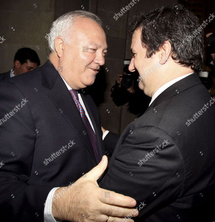 Spanish Minister of Foreing Affairs Miguel Angel Moratinos (l) Embraces Barcelona Mayor Jordi Hereu (r) After Learning That Barcelona Will Be the Seat of the Headquarters of the Union For the Mediterranean in Barcelona Catalonia Northeaster of Spain 04 November 2008 the Spanish Port City of Barcelona is to Be the Seat of the Headquarters of the Union For the Mediterranean Diplomatic Sources Said 04 November in the French City of Marseille Agreement on what Had Been a Bone of Contention Among the 40-plus Members of the Union was Reached Overnight During a Meeting of Foreign Ministers From European Union Members and Their Counterparts From Mediterranean States Spain Barcelona