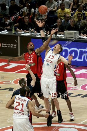 Tau Vitoria's Us Will Mcdonald (l) Jumps For the Ball with Danish David Andersen (13) of Cska Moscow During Their Euroleague Semifinal Final Four Match Played at the Sports Pavillion in Madrid Spain 02 May 2008 Russian Team Will Play Final Match Next Sunday Against Maccabi Tel Aviv Spain Madrid