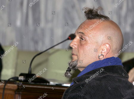 Stock Image of Juan Carmelo Santana Alamo (l) Accused of the Murder of a British Couple (brian Johnson and Tina Jane Johnson) at Fuenteventura Island in July 2006 and the Defense Attorney Gonzalo Miranda (r) Attend the Trial Against Santana at the Las Palmas Provincial Court in Canary Islands Spain 30 March 2009 Spain Las Palmas De Gran Canaria