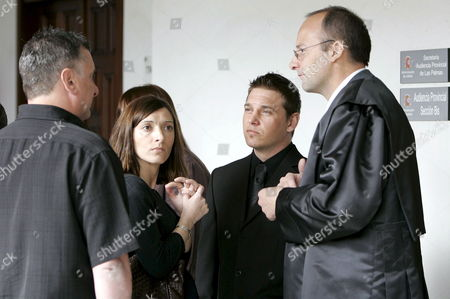 Stock Picture of The Son (2-r) and Family Members of Brian Johnson and Tina Jane Johnson the British Couple That Were Murdered in Fuerteventura Island in July 2006 Talk to Their Attorney Federico Andreu Bleckmann (r) During the Trial Against the Alleged Murderer Juan Carmelo Santana Alamo at Las Palmas Provincial Court in Canary Islands Spain 30 March 2009 Spain Las Palmas De Gran Canaria