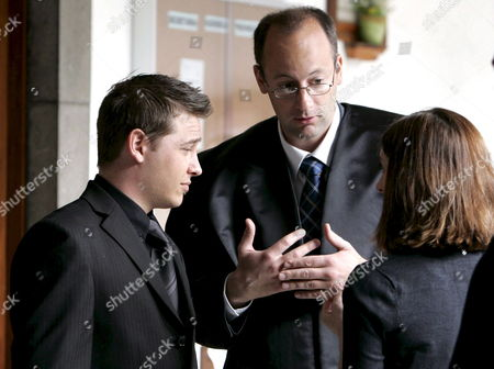 Stock Image of The Son (l) of Brian Johnson and Tina Jane Johnson the British Couple That Were Murdered in Fuerteventura Island in July 2006 Talks to His Lawyer Federico Andreu Bleckmann (c) Before the Trial Against the Alleged Murderer Juan Carmelo Santana Alamo Starts at Las Palmas Provincial Court in Canary Islands Spain 30 March 2009 Spain Las Palmas De Gran Canaria