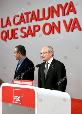 The President of the Generalitat of Catalunya and Candidate by the Catalonian Socialist Party (psc) Jose Montilla (r) Attends a Press Conference to Value the Results of the Regional Presidential Elections in Catalunya's Generalitat Regional Government in Barcelona Northeastern Spain 28 November 2010 Embattled Spanish Prime Minister Jose Luis Rodriguez Zapatero's Socialist Party was Set For a Heavy Defeat in Elections in the Key North-east Region of Catalonia Spain Barcelona
