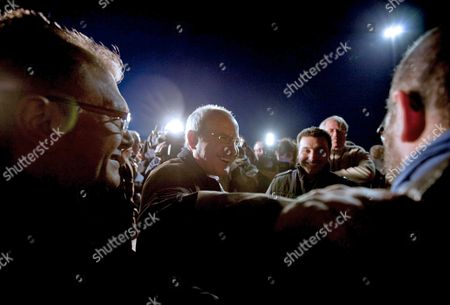 President of the Catalunya Generalitat Regional Government and the Leader of the Socialist Party of Catalunya Jose Montilla (c) Greets the Workers of the Seat Carmaker Factory in the Barcelona's Zona Franca After Making a Speech During the End of the Political Campaign For the Regional Elections in Catalunya in Barcelona Northeastern Spain 26 November 2010 Catalan Regional Polls Will Be Held on 28 November 2010 Spain Barcelona