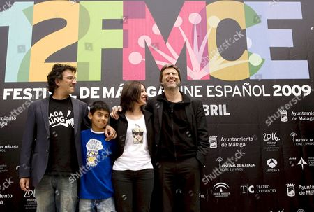 Stock Image of Spanish Director David Planell (l) Poses with Spanish Actors Brandon Lastra (2-l) Natalia Mateo (2-r) and Alberto San Juan (r) During the Presentation of His Film 'La Verguenza' (the Shame) at the 12th Spanish Film Festival Held in Malaga Spain 17 April 2009 the Exhibition on Script Runs Until 17 May the Movie Opens the Festival That is Scheduled For 17 to 25 April and Competes with 13 Other Films For the Golden Biznaga Spain Malaga
