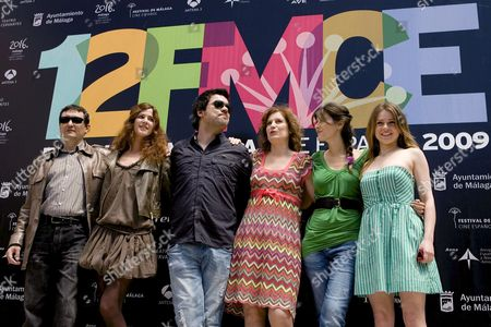 Spanish Film Director Carles Torras (3-l) Poses For the Media with the Cast Members Judith Uriach (2-l) Assumpta Serna (3-r) Marta Solaz (2-r) and Carla Nieto and Producer Joan Guinar During the Presentation of the Film 'Trash' Which Competes in the Official Section of the 12th Spanish Film Festival of Malaga in Cervantes Theatre Malaga Southern Spain 22 April 2009 Spain Malaga