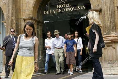 Stock Picture of Us Director Woody Allen (c) His Wife Soon-yi (front L) and His Daughter Manzie Tio (center R) Leave Their Hotel in Oviedo Asturias Spain 23 August 2010 Allen Will Attend the Spanish Premiere of His Movie 'You Will Meet a Tall Dark Stranger' Later the Same Day Spain Oviedo