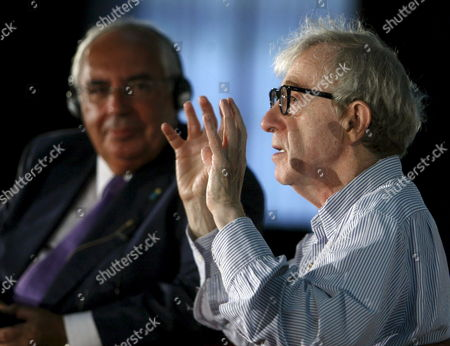 Stock Image of Us Film Maker Woody Allen (r) Delivers a Speech Next to Asturias Regional Goverment President Vicente Alvarez Areces (l) During the Spanish Premiere of His Movie 'You Will Meet a Tall Dark Stranger' in Oviedo Asturias Northern Spain 23 August 2010 Spain Oviedo