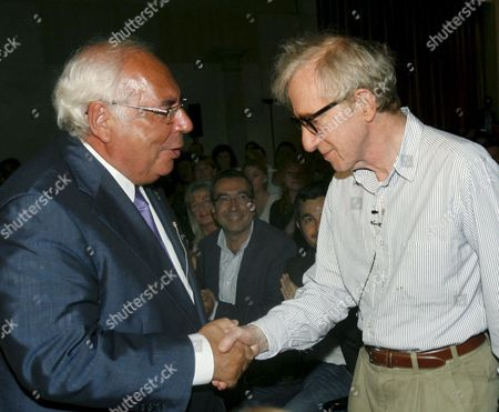 Us Film Maker Woody Allen (r) is Received by Asturias Regional Goverment President Vicente Alvarez Areces (l) During the Spanish Premiere of His Movie 'You Will Meet a Tall Dark Stranger' in Oviedo Asturias Northern Spain 23 August 2010 Spain Oviedo