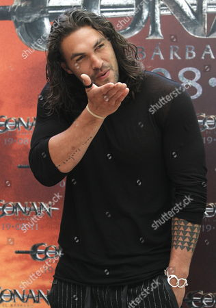 Us Actor and Cast-member Jason Momoa Poses For Photographers As He Presents the Film 'Conan the Barbarian' in Madrid Spain the Film Directed by German Marcus Nispel Will Be Released in Spanish Cinemas on 19 August 2011 Spain Madrid