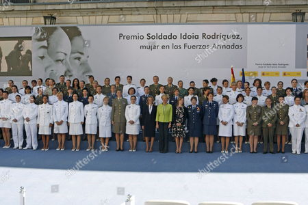 From (l-r) Spanish Minister of Defence Carme Chacon First Deputy Prime Minister Maria Teresa Fernßndez De La Vega (green Jacket) and Spanish Equality Minister Bibiana Aido Pose with the First Promotions of Women That Entered the Spanish Armed Forces During the Present of 'Soldier Idoia Rodr?guez Bujßn' Prize in Madrid Spain 13 September 2008 Idoia Rodriguez Bujan Died on Wednesday 21 February 2007 when Her Armoured Ambulance Vehicle Hit a Land Mine in Shindad Near Herat Afghanistan the Award Has Been Created to Remember Idoia the First Spanish Military Woman who Died in an International Mission and to Recognize the Work Carried out to Facilitate the Equality of Opportunities and the Woman's Integration in the Spanish Armed Forces Spain Madrid