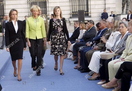 Spanish First Deputy Prime Minister Maria Teresa Fernßndez De La Vega (c) Spanish Minister of Defence Carme Chacon (l) and Spanish Equality Minister Bibiana Aido (r) Upon Their Arrival to the Present Ceremony of 'Soldier Idoia Rodr?guez Bujßn' Prize to the First Promotions of Women That Entered the Spanish Armed Forces in Madrid Spain 13 September 2008 Idoia Rodriguez Bujan Died on Wednesday 21 February 2007 when Her Armoured Ambulance Vehicle Hit a Land Mine in Shindad Near Herat Afghanistan the Award Has Been Created to Remember Idoia the First Spanish Military Woman who Died in an International Mission and to Recognize the Work Carried out to Facilitate the Equality of Opportunities and the Woman's Integration in the Spanish Armed Forces Spain Madrid