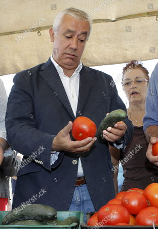 The President of the Popular Party in Andalusia Javier Arenas (c) Holds a Tomato and a Cucumber During His Visit to a Street Market in Carmona Town in Seville Southern Spain on 30 May 2011 Arenas Asked People to Defend the Quality of Fruits and Vegetables Cultivated in Andalusia Which He Considers 'The Best of the World' an E Coli Outbreak Suspected to Have Been Caused by Tainted Vegetables Has Claimed an 11th Victim in Germany Authorities in the German State of North Rhein-westphalia Said Germany Has Blamed the Outbreak on Organically Grown Cucumbers Imported From Spain Though Spanish Health Minister Leire Pajin Said There was 'No Proof No Evidence' Behind the Accusations Spanish Rural Affairs Minister Rosa Aguilar Said She Would Ask Germany to Clarify the Origin of the Contamination Spain Would Seek Financial Compensation From the Eu For the 'Irreparable and Unfair' Damage That the Scandal Had Caused to Spanish Vegetable Producers Aguilar Said Spain Seville