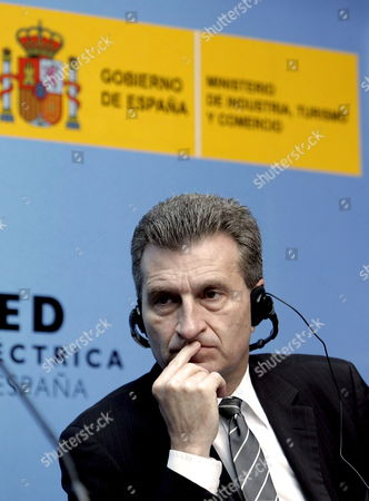 European Commissioner For Energy G?nther Oettinger Attends the Opening of the High Level Conference on Eureopean Energy Infrastructures in Madrid Spain 28 May 2010 Spain Madrid