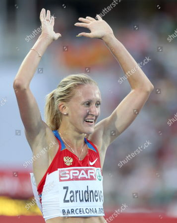 Russian Athlete Yuliya Zarudneva Celebrates After Winning 3000 Meter Women's Steeplechase Final in the European Athletics Championships Barcelona 2010 Held at the Olympic Stadium Lluis Companys in Barcelona North-eastern Spain 30 July 2010 Zarudneva Won the Medal Gold Dominguez Won Silver and Russian Lyubov Kharlamova Won the Bronze Medal Spain Barcelona