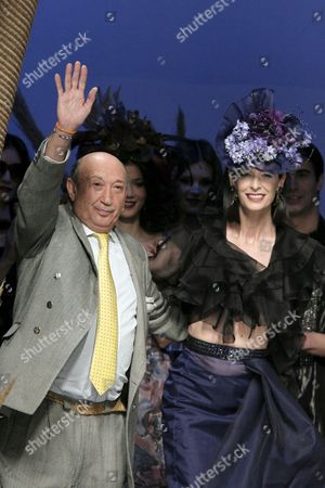 Spanish Designer Francis Montesinos (l) Waves at the Public Together with Spanish Model Paola Dominguin at His Fashion Show For the Oncoming Fall/winter Season During the 51st Edition of Cibeles Fashion Week in Madrid Spain 19 February 2010 the Fashion Week Runs From 18 to 23 February Spain Madrid