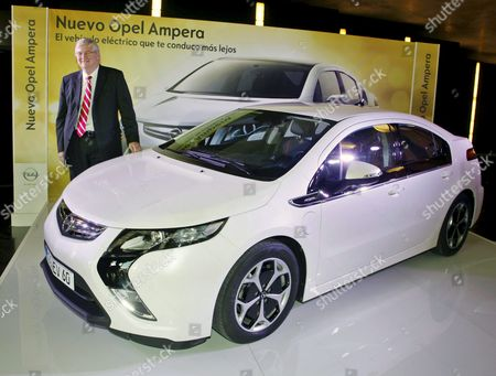 Stock Picture of President of General Motores (gm) Europe Nick Reilly Poses Next to an Opel Ampera Electric Vehicle During the 11th Edition of the Pilot International Logistics Forum in Zaragoza Northeastern Spain on 06 April 2011 Reilly Will Be Awarded with the Logistic Excellence Prize 2011 Spain Zaragoza