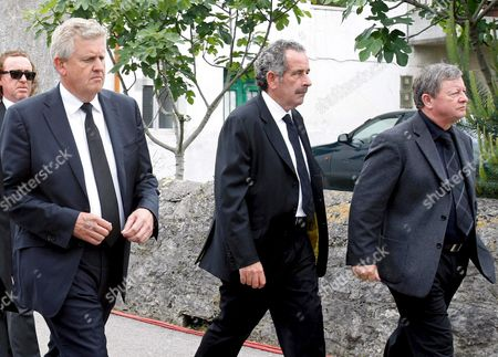 Scottish Golfers Colin Montgomerie (l) and Sam Torrance (c) and Welshman Ian Woosnam Arrive to San Pedro Parish to Attend the Small Funeral Service Celebrated in Pedrena Hometown of Late Spanish Golfer Severiano Ballesteros in the Region of Cantabria Northern Spain 11 May 2011 the 54-year-old Golf Legend Died on 07 May 2011 After a Long Battle Against a Brain Tumour Spain Pedrena
