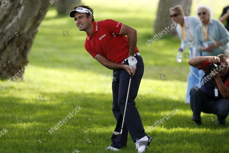 Italian Golfer Eduardo Molinari Watches His Ball Flying After Hitting From the Rough on the 1st Hole on Day One of the Andalusia Valderrama Masters at Valderrama Golf Course in Sotogrande Cadiz Andalusia Southern Spain on 28 October 2010 the Golf Tournament Takes Place Until 31 October 2010 Spain Cadiz