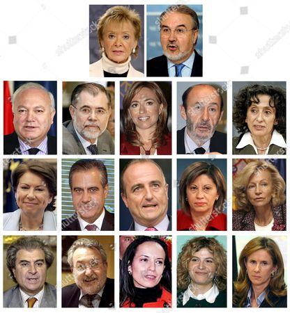 This Multi-composite Photo Shows Spanish Government Members Announced 12 April 2008 by Spain's Prime Minister Jose Luis Rodriguez Zapatero in Madrid Spain (from Top to Bottom and From Left to Right) First Row: First Deputy Premier and Minister of the Presidency Maria Teresa Fernandez De La Vega; and Second Deputy Prime Minister and Minister of Finance Pedro Solbes Second Row: Foreign Affairs and Cooperation Minister Miguel Angel Moratinos; Justice Minister Mariano Fernandez Bermejo; Defence Minister Carme Chacon; Internal Affairs Alfredo Perez Rubalcaba; Education Social Policy and Sports Minister Mercedes Cabrera Third Row: Development Minister Magdalena Alvarez; Labour and Inmigration Minister Celestino Corbacho; Industry Commerce and Turism Minister Miguel Sebastian; Environment and Agriculture Minister Elena Espinosa; Civil Service Minister Elena Salgado Fourth Row: Culture Minister Cesar Antonio Molina; Health and Consume Minister Bernat Soria; Housing Minister Beatriz Corredor; Equality Minister Bibiana Aido; Science and Innovation Minister Cristina Garmendia Epa/efe Spain Madrid