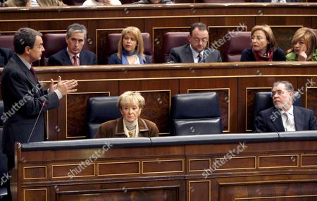Spanish Prime Minister Jose Luis Rodriguez Zapatero (l) Speaks During the Government's Question Time at the Lower House of the Spanish Parliament in Madrid Spain 18 February 2009 While First Deputy Prime Minister Maria Teresa Fernandez De La Vega (c) and Justice Minister Mariano Fernandez Bermejo (r) Look on Spanish Judges and Magistrates From Over 30 Provinces Have Been Called out Today in the First of a Series of Planned Protests Organized by the Francisco De Vitoria Association (ajfv in Spanish) and the Independent Judicial Forum (fji) Against what They See As the Deterioration of the Judiciary and a Lack of Resources Spain Faces Its First Ever Strike in the Judiciary Spain Madrid