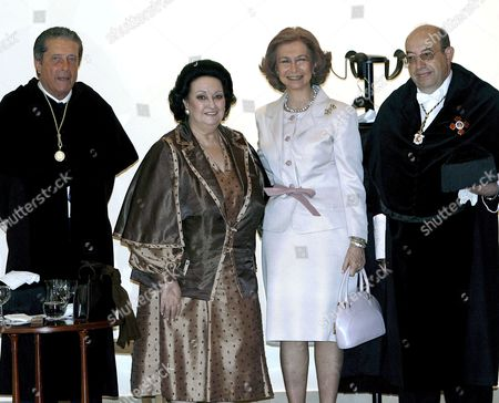 Spanish Queen Sofia (2r) Poses with Spanish Soprano Monserrat Caballe (2l) Spanish President and Promoter of the Fundaci?n Para Una Cultura De Paz (foundation For a Culture of Peace) Federico Mayor Zaragoza (l) and International University Menendez Pelayo Rector's Salvador Ordonez (r) During the Investiture of Monserrat Caballe As Honorary Doctor in Santander Cantabria Spain 02 July 2008 Spain Santander