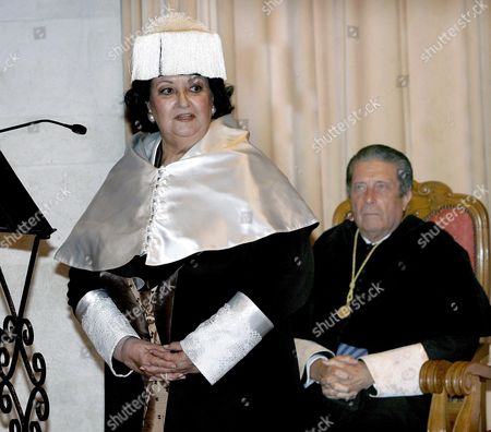Spanish Soprano Monserrat Caballe (l) Delivers a Speech in Presence of Former Spanish President and Promoter of the Fundaci?n Para Una Cultura De Paz (foundation For a Culture of Peace) Federico Mayor Zaragoza (r) During Her Investiture As Honorary Doctor by the International University of Menendez Pelayo in Santander Cantabria Northern Spain 02 July 2008 Spain Santander