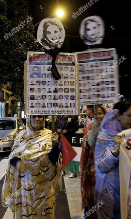 Demonstrators Show Banners During the Demonstration Held Today in Santa Cruz De Tenerife One of the Capitals of the Canary Islands in Support of Western Saharan Activist Aminatou Haidar on Her 30th Day on Hunger Strike 15 December 2009 Spain Santa Cruz De Tenerife
