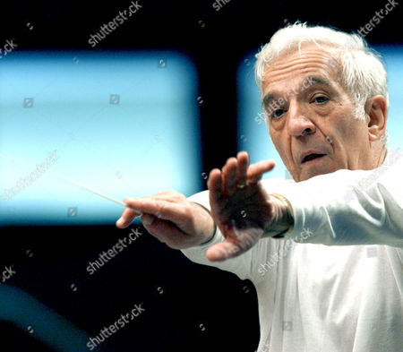 Russian Conductor Vladimir Ashkenazy is Pictured During a Rehearsal of the Freixenet Symphony Orchestra Which Will Inaugurate 02 July 2008 at Santander's Viii Academy and Music Meeting in Santander Spain 01 July 2008 Spain Santander