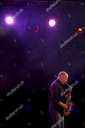 Stock Image of Italian Saxophonist Stefano Di Battista Performs on Stage During the Vitoria Jazz Festival at the Mendizorroza Palace in Vitoria Spain 16 July 2009 Spain Vitoria