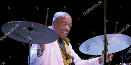 Stock Image of A Photograph Made Available on 24 July Shows Us Drummer Roy Haynes Performing on Stage During His Concert at the Second Day of the Gijon Jazz Festival Held at El Bibio Bullring Gijon Northern Spain on 23 July 2009 Spain Gijon