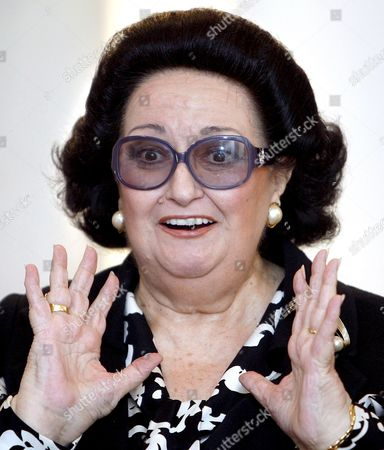 Spanish Soprano Monserrat Caballe Gestures During the Presentation of a Concert with the Valencia Orchresta in Valencia Spain 12 June 2008 Caballe Will Sing Rossini Cherubini and Mascagniarias' Arias Spain Valencia